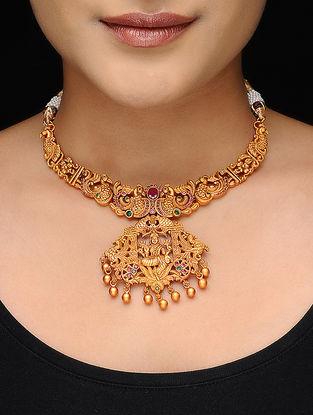 Purple-Green Gold Tone Copper Necklace
