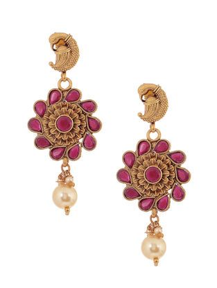Pink Gold Tone Copper Earrings with Pearl