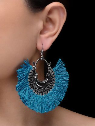 Blue Tassel Earings