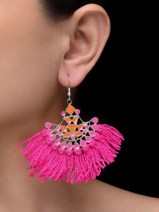 Pink-Orange Enameled Tassel Earrings