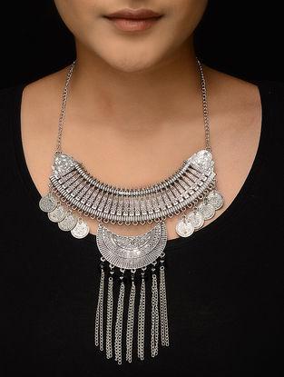 Black Silver Tone Coin Necklace
