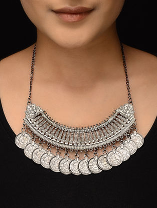 Classic Silver Tone Coin Necklace