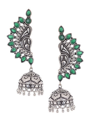 Green Silver Tone Copper Jhumkis