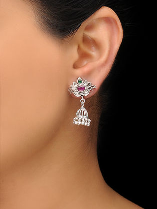 Pink-Green Silver Tone Copper Jhumkis
