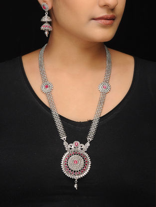 Pink Silver Tone Copper Necklace with a Pair of Earrings (Set of 2)