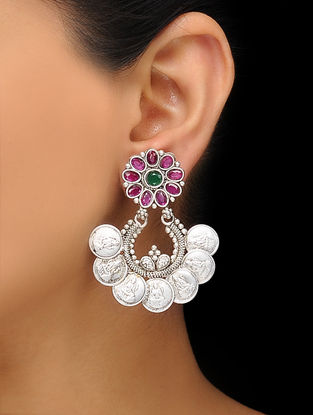 Pink-Green Silver Tone Copper Coin Jhumkis with Floral Design
