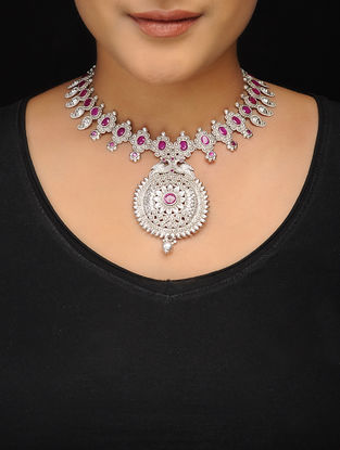 Pink Silver Tone Copper Necklace
