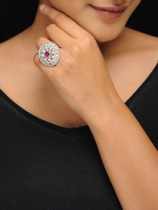 Pink Silver Tone Copper Ring (Ring Size-5.5)