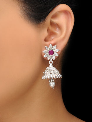 Pink Silver Tone Copper Jhumkis with Floral Design