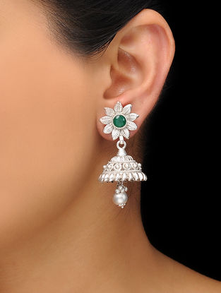 Green Silver Tone Copper Jhumkis with Floral Design