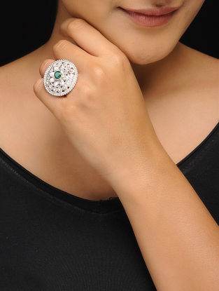 Green Silver Tone Copper Ring (Ring Size- 4.5)