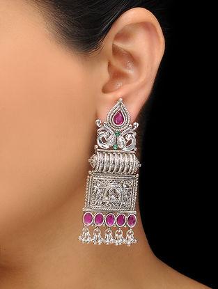 Pink-Green Silver Tone Copper Earrings