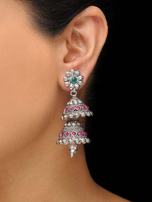Pink-Green Silver Tone Copper Jhumkis with Floral Design