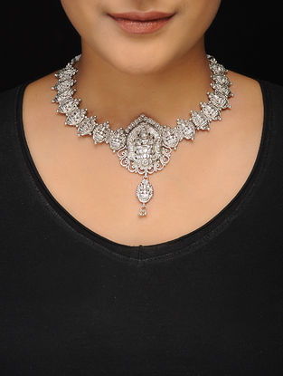 Classic Silver Tone Copper Necklace with Deity Motif