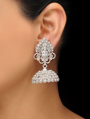 Classic Silver Tone Copper Jhumkis with Deity Motif