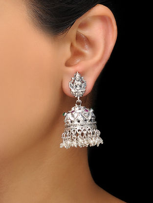 Pink-Green Silver Tone Jhumkis with Deity Motif