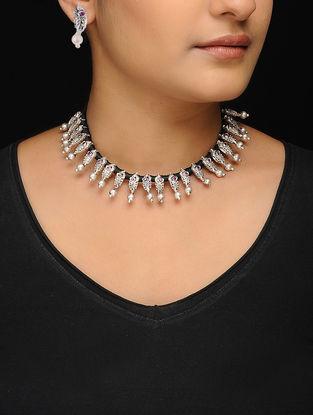 Black Thread Silver Tone Copper Necklace