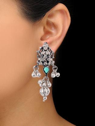 Green Silver Tone Copper Earrings with Deity Motif