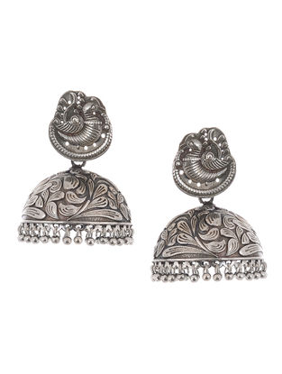 Classic Silver Tone Brass Jhumkis with Bird Motif
