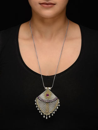 Purple Dual Tone Brass Necklace