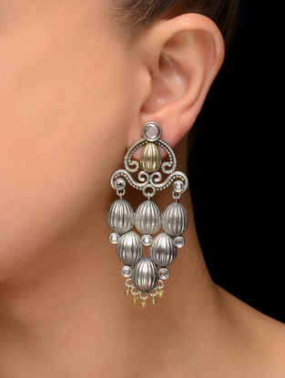 White Dual Tone Brass Earrings