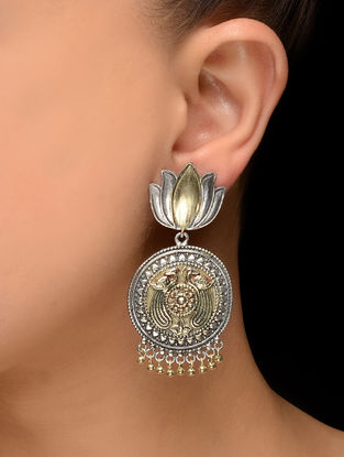 Dual Tone Brass Earrings with Lotus Design