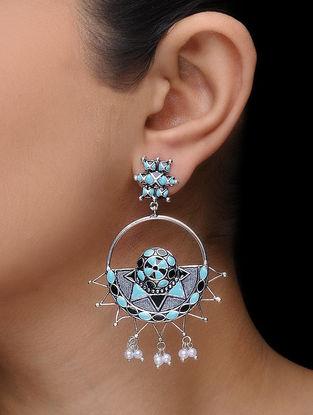 Blue-Black Enamel Silver Tone Earrings