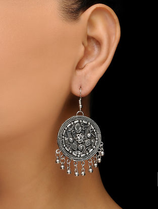 Classic Handcrafted Silver Tone Earrings with Floral Motif