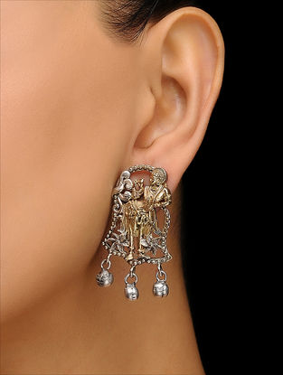 Classic Dual Tone Brass Earrings with Deity Motif