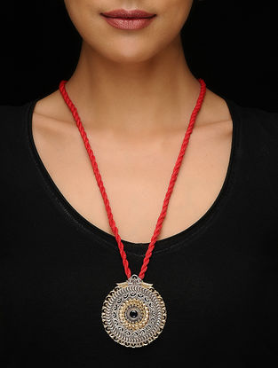 Black Dual Tone Brass Thread Necklace