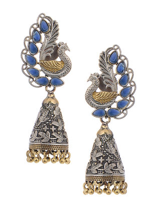 Blue Dual Tone Brass Jhumkis with Peacock Design