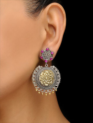 Pink Dual Tone Brass Earrings with Floral Motif