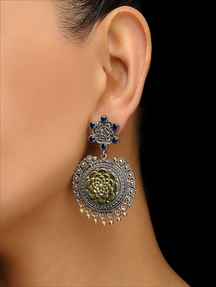 Blue Dual Tone Brass Earrings with Floral Motif