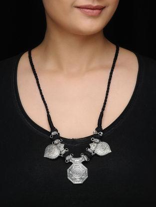 Black Silver Tone Thread Necklace