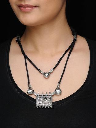Black Silver Tone Multi-String Thread Necklace