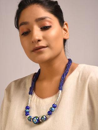 Blue Ceramic Beaded Necklace