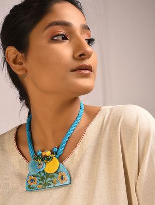 Yellow-Blue Ceramic Thread Necklace