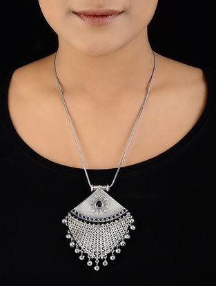 Blue Silver Tone Brass Necklace