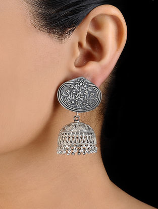 Classic Silver Tone Brass Jhumkis with Floral Motif