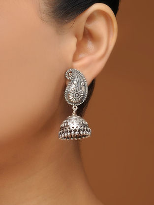 Classic Silver Tone Brass Jhumkis