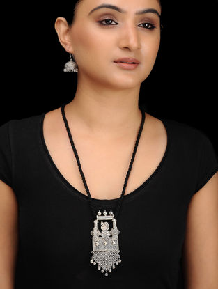 Black Silver Tone Brass Necklace with Earrings (Set of 2)