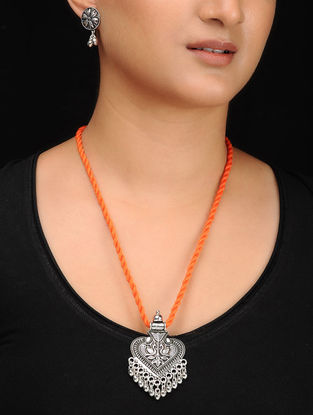 Orange Silver Tone Brass Necklace with Earrings (Set of 2)