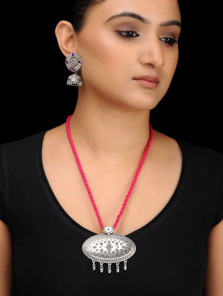 Pink Silver Tone Brass Necklace with Earrings (Set of 2)