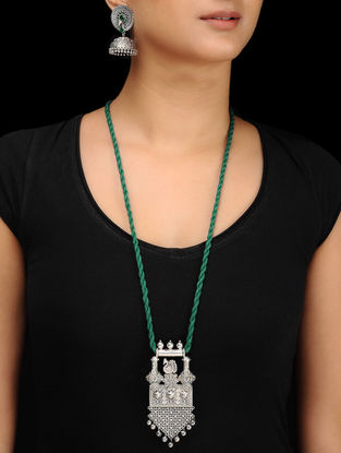 Green Silver Tone Brass Necklace with Earrings (Set of 2)