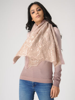 Peach Hand-embroidered Wool Scarf