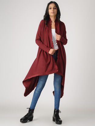 Maroon Wool-Cashmere Cape