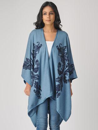 Blue Printed Cashmere Cape