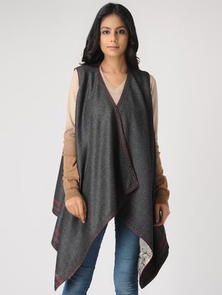 Grey-Ivory Reversible Wool-Silk Cape