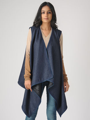 Blue-Black Reversible Wool-Silk Cape