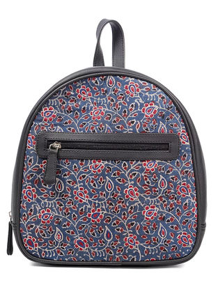 Indigo-Red Block-printed Thread-embroidered Cotton and Backpack